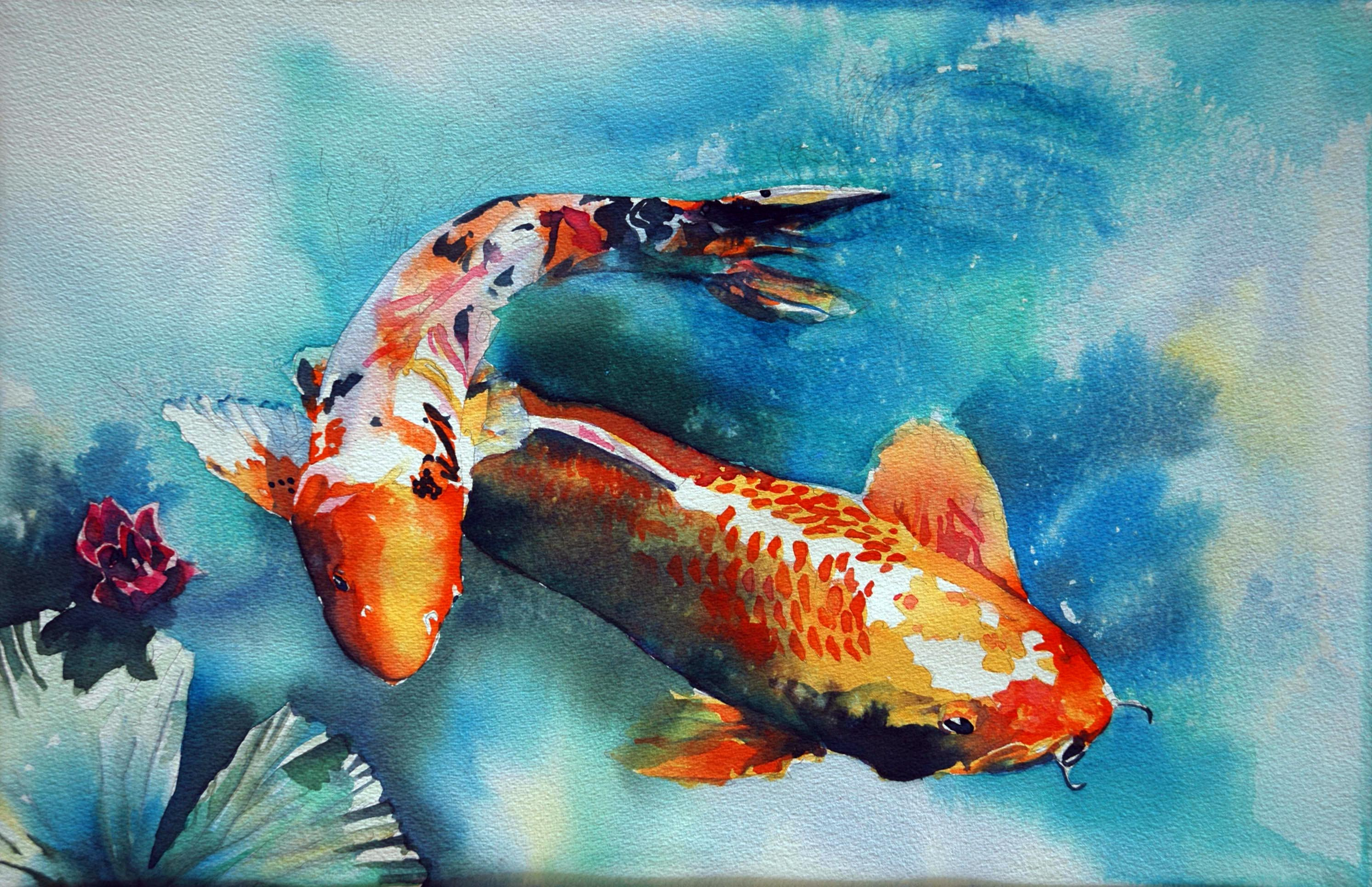 Koi fish watercolor paintings quot mystical waters for Pictures of coy fish